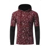 Leisure Hooded Collar Long Sleeves Patchwork Red C