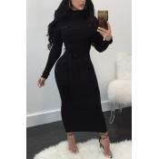 Euramerican Long Sleeves Black Polyester Sheath Mid Calf Dress