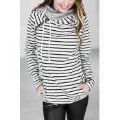 Leisure Long Sleeves Striped White Polyester Pullo