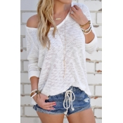Lovely Knitting V Neck Long Sleeve Regular Pullove