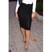 Moda Cintura Alta De Cuero Negro Vaina Faldas Hasta La Rodilla