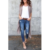 Cotton Turndown Collar Long Sleeve Long Cardigan S