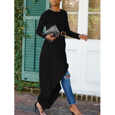 Leisure Round Neck Asymmetrical Black Cotton Mid Calf Dress(With Belt)