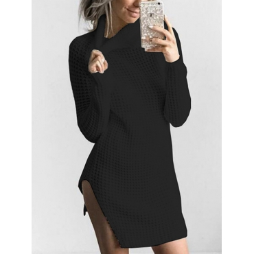 Euramerican Turtleneck Long Sleeves Black Knitting Sweaters