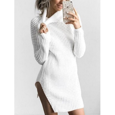 Euramerican Turtleneck Long Sleeves White Knitting Sweaters