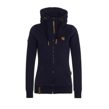 Casual V Neck Long Sleeves Zipper Design Dark Blue Cotton Hoodies Coat