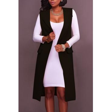 Euramerican Pockets Design Black Polyester Long Waistcoats