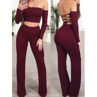 Sexy Dew Shoulder Lace-up Hollow-out Red Cotton Blends Two Piece Pants Set
