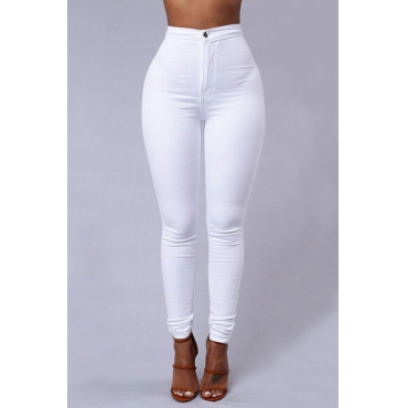 Euramerican High Waist Zipper Design White Denim Pants