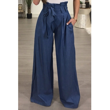 Stylish High Waist Drawstring Ligh Blue Cotton Pants
