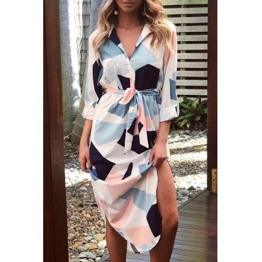 Stylish Turndown Collar Long Sleeves Block Printing Cotton Mid Calf Dress