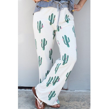 Lovely Sunshine Cactus Printing Casual Pants