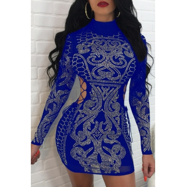 Sexy Hollow-out Rhinestone Decorative Blue Polyester Mini Dress