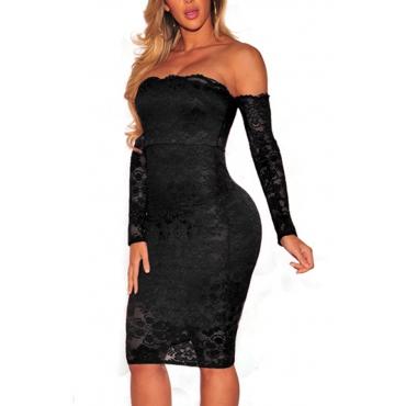 Sexy Dew hombro negro de encaje vestido de longitud de la rodilla vaina