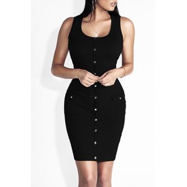 Euramerican Round Neck Buttons Decoration Black Cotton Sheath Mini Dress