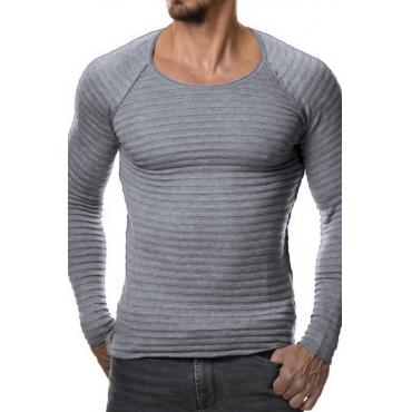 Euramerican Round Neck Long Sleeves Light Grey Acrylic Sweater
