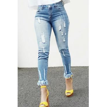LovelyStylish High Waist Tassel Design Blue Denim Pants