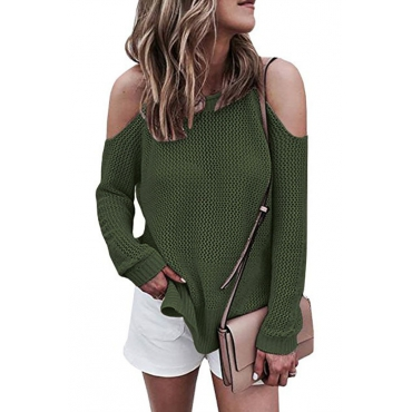 Leisure Round Neck Hollow-out Green Cotton Blends Sweaters