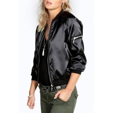 Fashion Round Neck Zipper Design Black Polyester Jacket