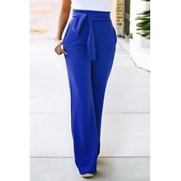 Euramerican High Waist Lace-up Blue Polyester Pants