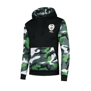 Leisure Camouflage Printed Patchwork Black Cotton Blends Hoodie for men
