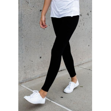Leisure Elastic Waist Black Cotton Blends Leggings