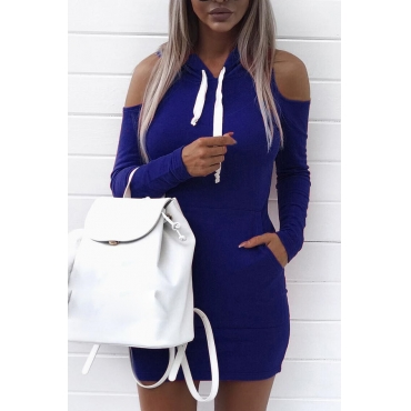 Leisure Hooded Collar Long Sleeves Hollow-out Royalblue Cotton Sheath Mini Dress