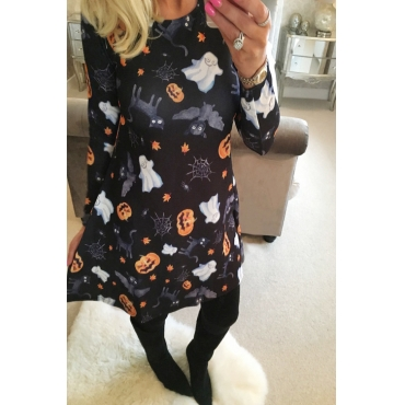Find Halloween Printing Black Mini Dress(Non Positioning Printing)