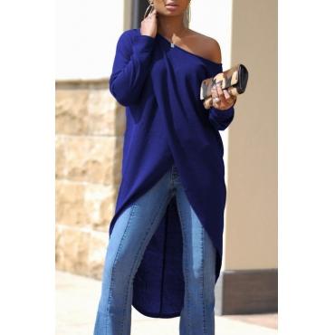 Leisure Dew Shoulder Long Sleeves Asymmetrical Navy Blue Cotton Shirts