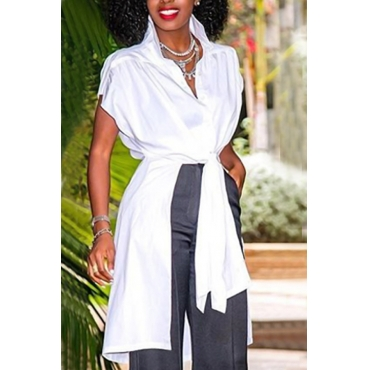 Stylish Turndown Collar Asymmetrical White Polyester Shirts