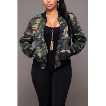 Trendy Round Neck Camouflage Printed Polyester Jacket