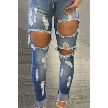 Euramerican High Waist Broken Holes Blue Denim Pants