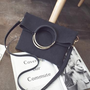 Fashion Zipper Design Black PU Clutches Bags