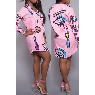 Colar De Cortinação Na Moda Impresso Vestido De Vestido De Joelho De Poliéster Rosa Impresso