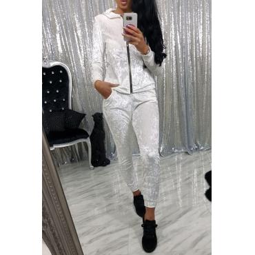 White Velvet Pants Plain Turndown Collar Long Sleeve Casual Two Pieces