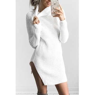 Polyester Casual Turtleneck Cap Sleeve Long Sleeve Sheath Mini Dresses