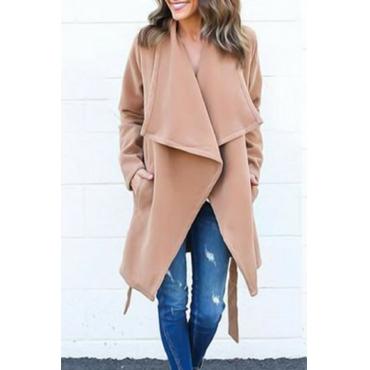 Trendy Turndown Collar Lace-up Light Tan Wool Coat