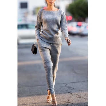 Grey Cotton Pants Plain O neck Long Sleeve Casual Two Pieces