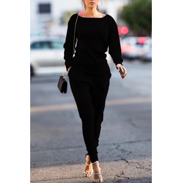 Black Cotton Pants Plain O neck Long Sleeve Casual Two Pieces