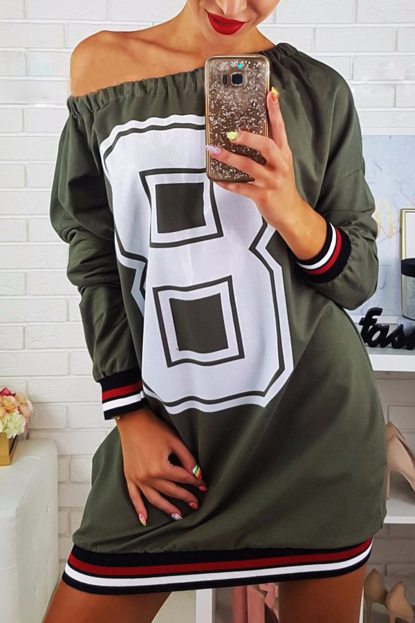 Casual Dew Shoulder Printed Army Green Polyester Mini Dress Dresses <br><br>