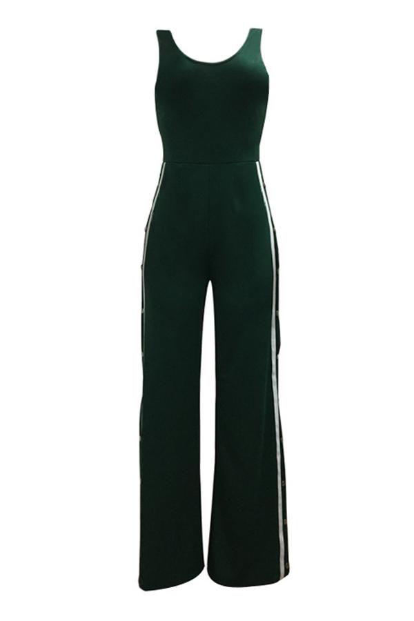 Sexy Side Split Green Polyester Jumpsuits de uma peça