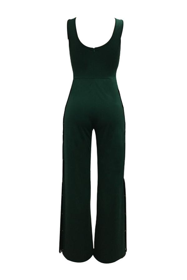 Sexy Side Split Grün Polyester Einteiler Overalls