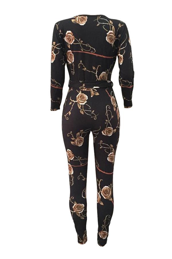 Moda V cuello de impresión floral de poliéster negro monos de una sola pieza