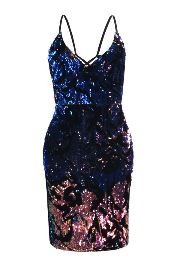 Sexy cuello en V Backless púrpura vaina mini vestido de poliéster