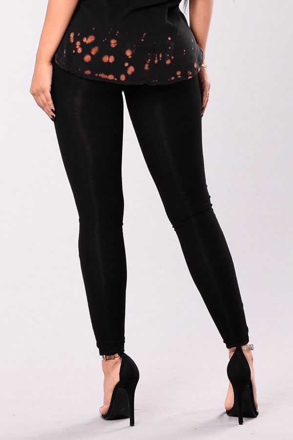 Sexy Elastic Waist Lace-up Hollow-out Black Polyester Pants