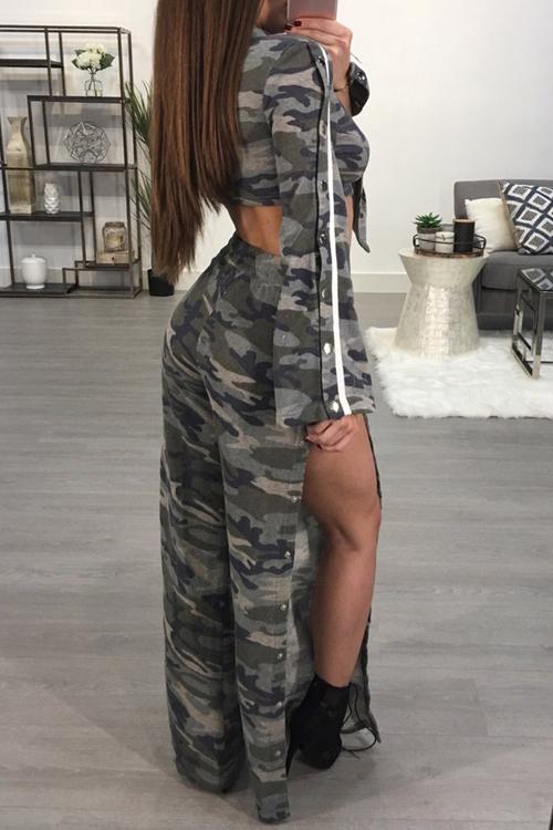 Sexy Camouflage bedruckte Seite Split Polyester zweiteilige Hose Set