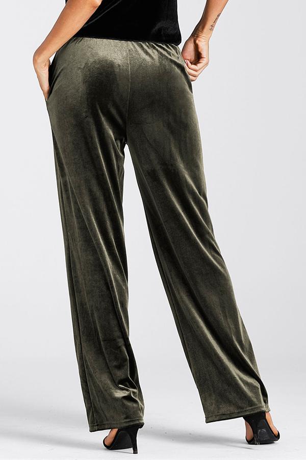 Euramerican elastische Taille Army Green Pleuche Pants