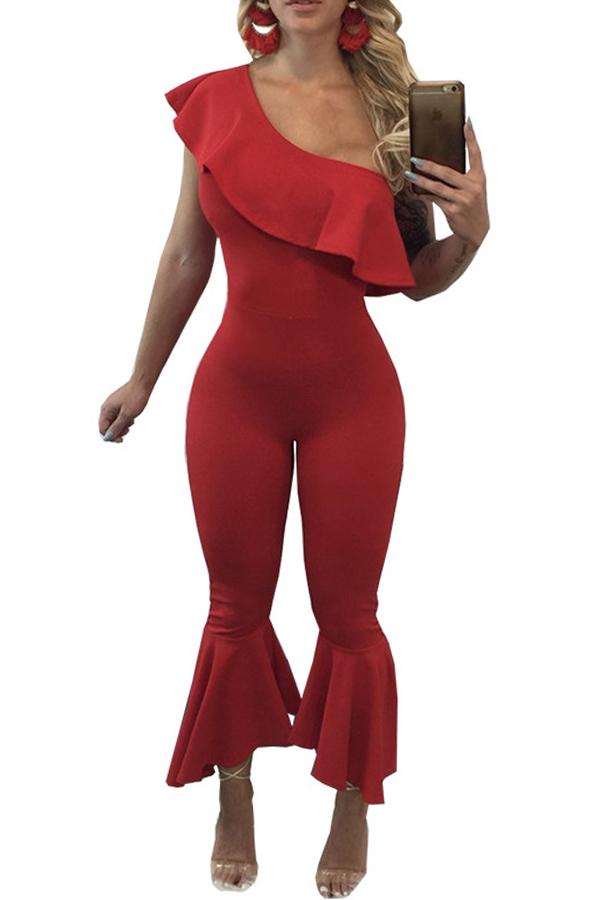 Trendy Dew Shoulder Falbala Design Poliester Red One-Piece Jumpsuits