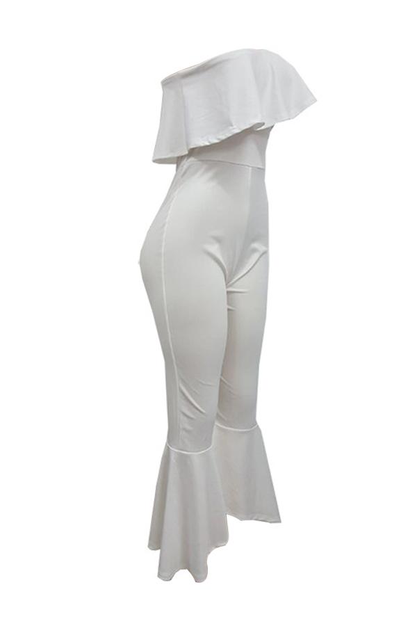Trendy Dew Shoulder Falbala Design Poliéster blanco Monos de una sola pieza