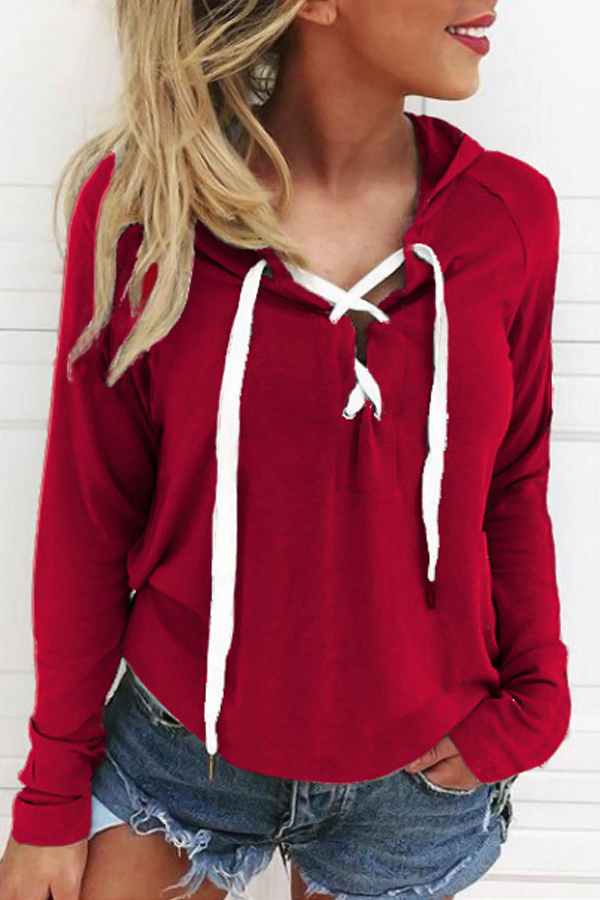 Leisure Long Sleeves Lace-up Red Polyester Hoodies